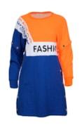 Color block dress with removable sleeves