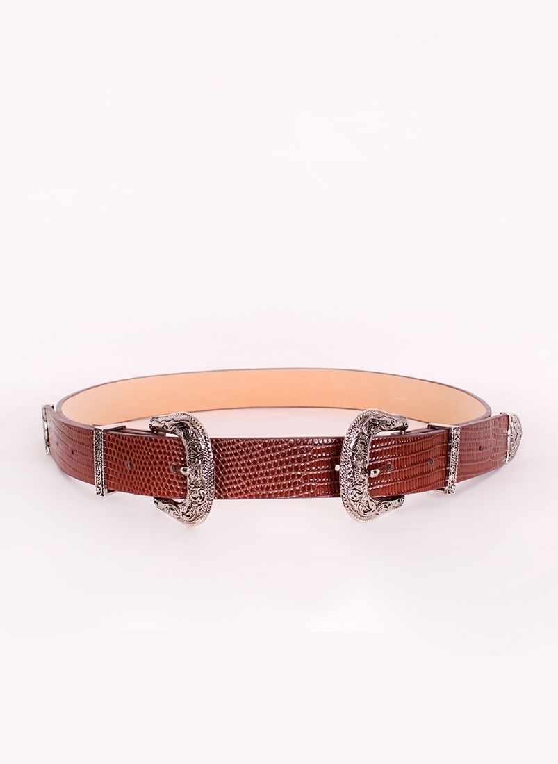 Double buckle crocodile belt